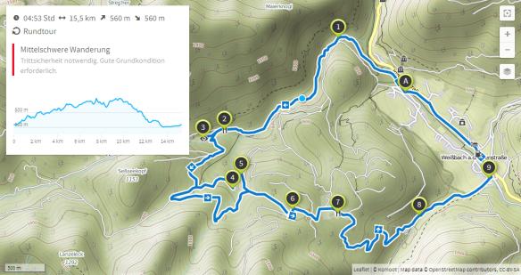 Drei Almen Wanderung (Karte bei Karte bei www.komoot.de)