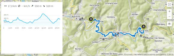 Lahnwanderweg 18 (Karte bei Karte bei www.komoot.de)