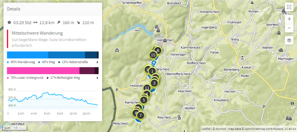 Eisvogelwanderweg (Karte bei Karte bei www.komoot.de)