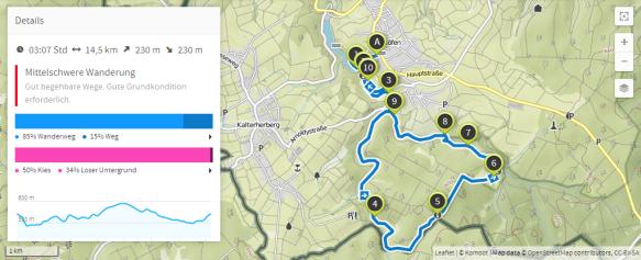 Narzissenroute (Karte bei Karte bei www.komoot.de)
