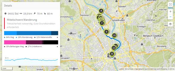 Zo foss noh Kölle jonn! (Karte bei Karte bei www.komoot.de)