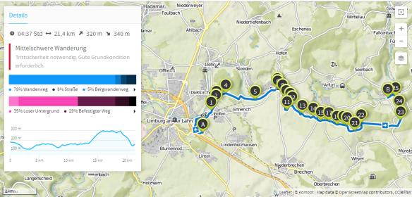 Lahnhöhenweg Limburg-Aumenau (Karte bei Karte bei www.komoot.de)