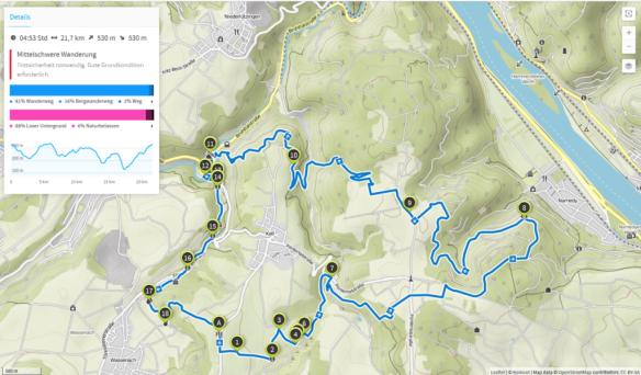 Traumpfad Höhlen und Schluchtensteig erweitert (Karte bei Karte bei www.komoot.de)
