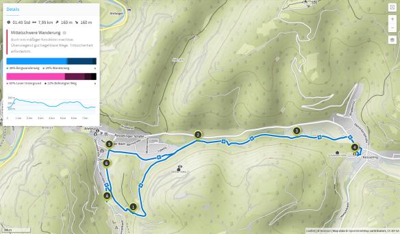 Denntal - Wanderung zur Pfarrkirche Kesseling (Karte bei Karte bei www.komoot.de)