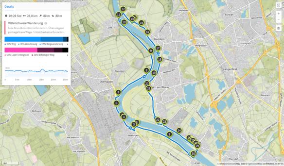 Langel und Zons (Karte bei Karte bei www.komoot.de)
