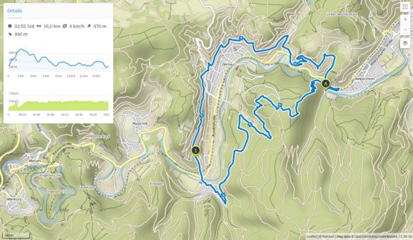 Dernau Rotweinwanderweg (Karte bei Karte bei www.komoot.de)