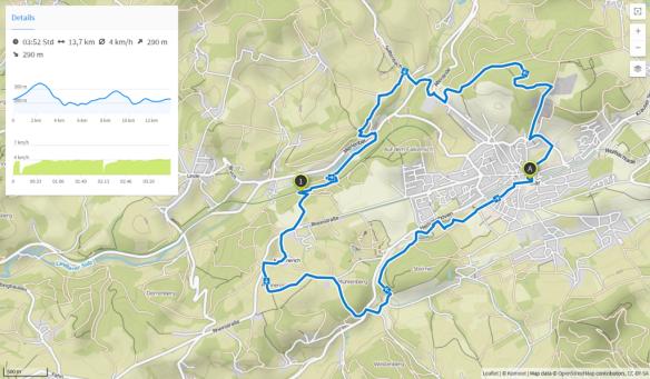 Winterwanderung 16 (Karte bei Karte bei www.komoot.de)
