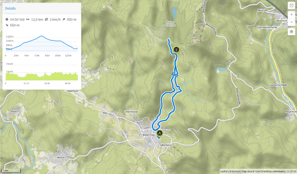 Bodenmais Risslochschlucht kleiner Arber (Karte bei Karte bei www.komoot.de)