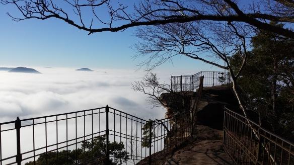 Orenfels Blick auf Burg Trifels im Nebel